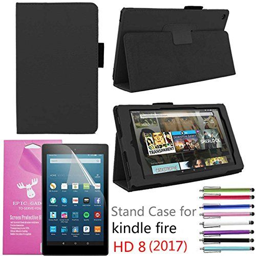 """#Amazon #Fire #HD 8"""" #2017 #Case, EpicGadget(TM) #7th #Generation #Fire #HD #8 #PU #Leather #Folding #Folio #Case with #Built in #Stand For #Fire #HD #8 #inch (2017) + #1 #Screen #Protector + #1 #Stylus Compatible With #Amazon #Fire #HD 8"""" (7th Generation) released in #2017 only Magnetic closure - secure & easy to close / open, #Built in #Stand for convenience 100% High Quality #PU (synthetic) #Leather #Case with soft Microfiber interior to prevent scratches, Lightweight, and"""