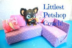 How to make a Doll Couch for Littlest Pet shop LPS dolls   EASY Kids crafts