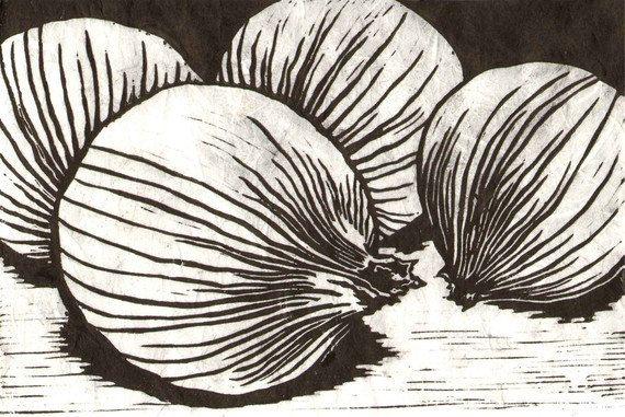 Onions - Original Linocut Print