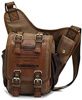 94572cb87a0a Amazon.com: APG Men's Brown Canvas Leather Single Shoulder Cross ...