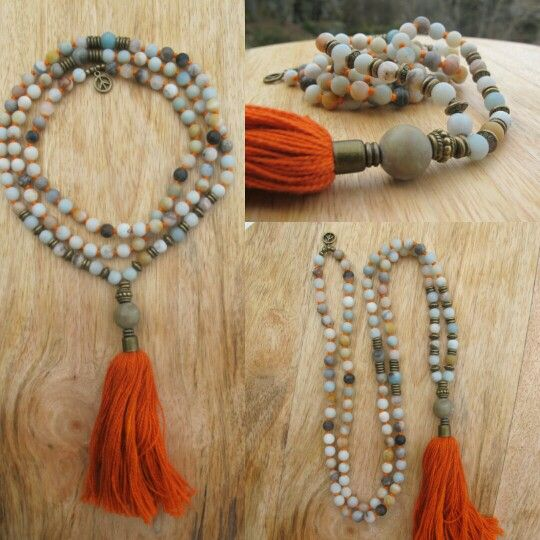 Multicolor amazonite with Orange tassel. Malabead necklace.