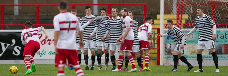 Stirling Albion's Sean Dickson hits a free kick during the SPFL League Two game between Stirling Albion and Queen's Park.