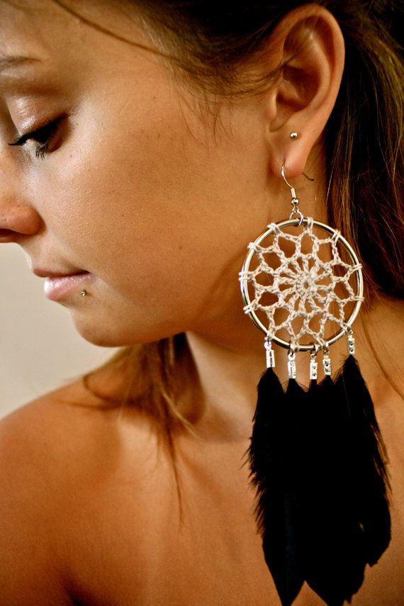 Crochet Dreamcatcher Earrings with Feathers. $30!