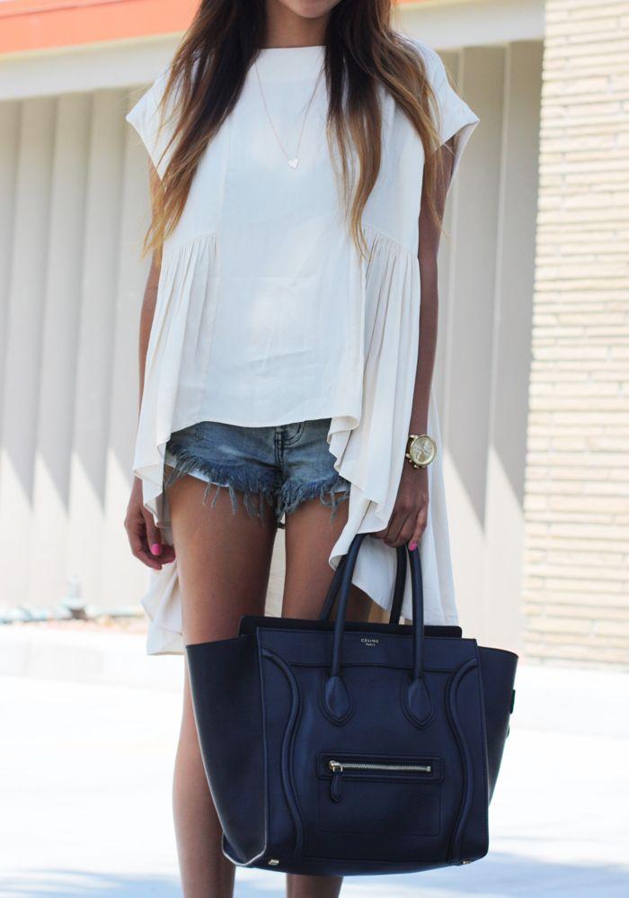 : Fashion Beautiful, Shorts Shorts, Celine Bags, Palms Beaches, Design Handbags, White Shirts, Beaches Casual, Gucci Handbags, Denim Shorts