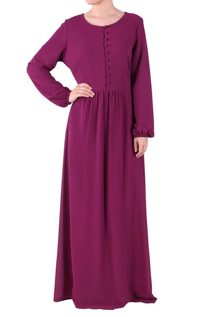 Livia Button Front Chiffon Maxi Dress - Purple by #PopLook // Malaysia, ships Internationally // #modestfashiononline #maxi #abaya