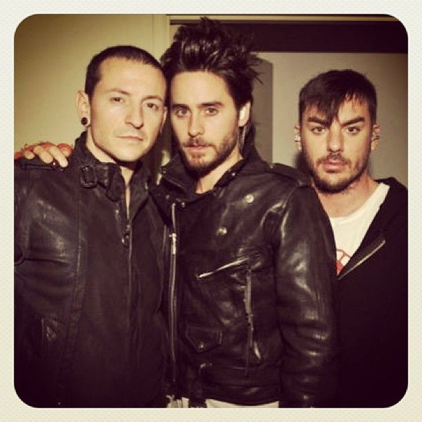 jaredleto #ThrowbackThursday: Me + @Shannon Bellanca Leto with Chester Bennington. #TBT