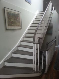 Painted Stairs before and after how to Great transition between upstairs and downstairs
