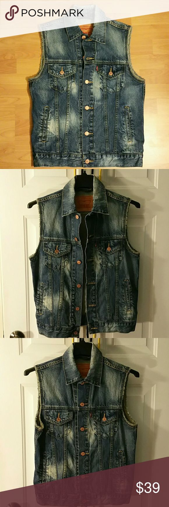 Mens Levis denim jacket sleeveless Like new pristine condition. Too small for me and was too late to return it. Size small. Levi's Jackets & Coats