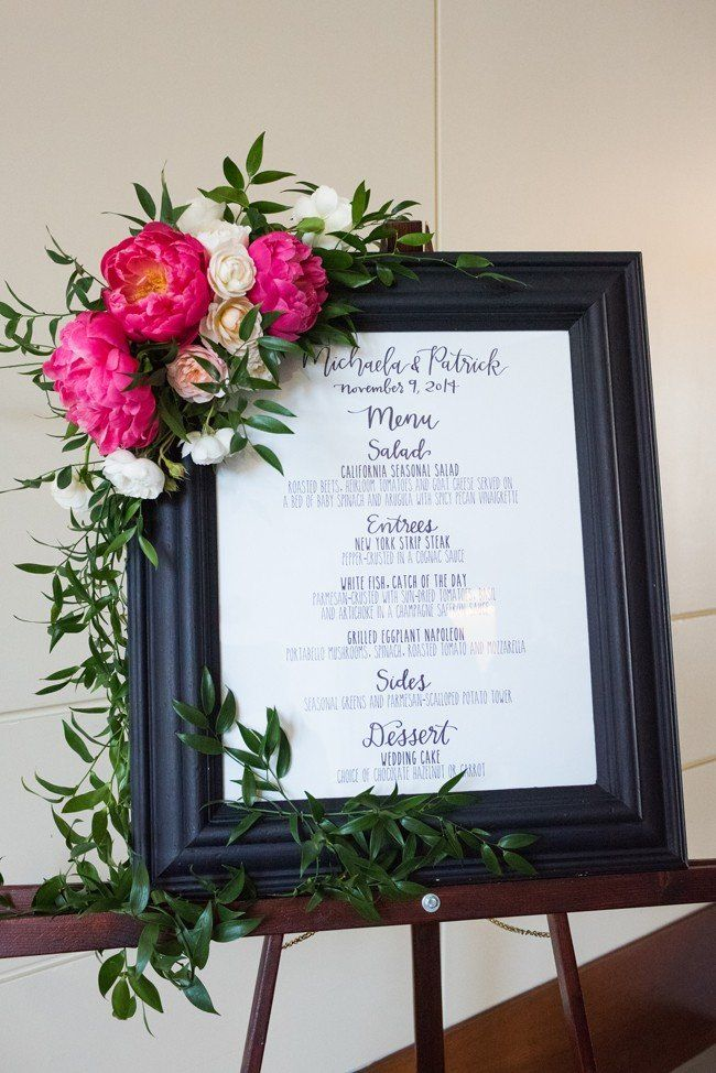 Menu Board with white flowers with cranberry and pink (want the pink a lighter color) color peonies.Would want a silver or white frame