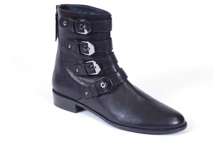Jitterbug by Stuart Weitzman - Fashionable boot, soft leather with rubber outsole. Features include four decrotave buckles and a back zipper. 2A (7 1/2-11) Available at Miller Shoes: millershoes.com/shop/boot/jitterbug/