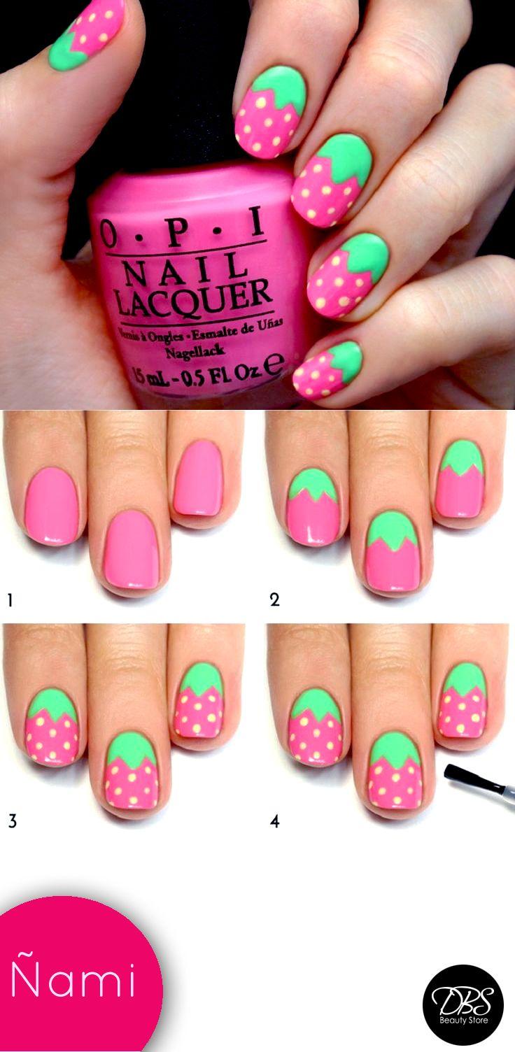 Este verano te enseñamos como decorar tus uñas con este Nail Art entretenido que podrás hacer en muy pocos pasos: 1-Aplica el color rosado como base para el diseño 2-Realiza unas pequeñas hojas en el comienzo de tus uñas 3-Y finalmente realiza pequeños puntos para simular una frutilla. Para un mejor resultado puedes usar un brillo OPI, que podrás encontrar En todas nuestras tiendas DBS Beauty Store #NailArt #Summer #DBS