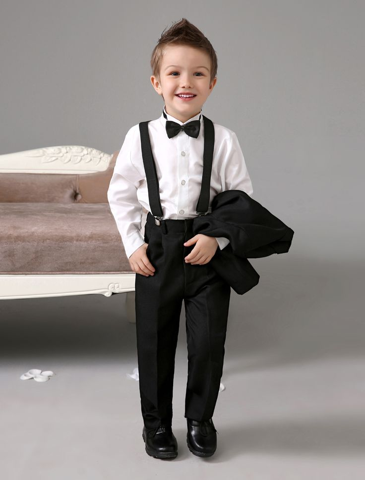ring bearer in a black tux | Four Pieces Luxurious Black Ring Bearer Suits cool Boys Tuxedo With ...