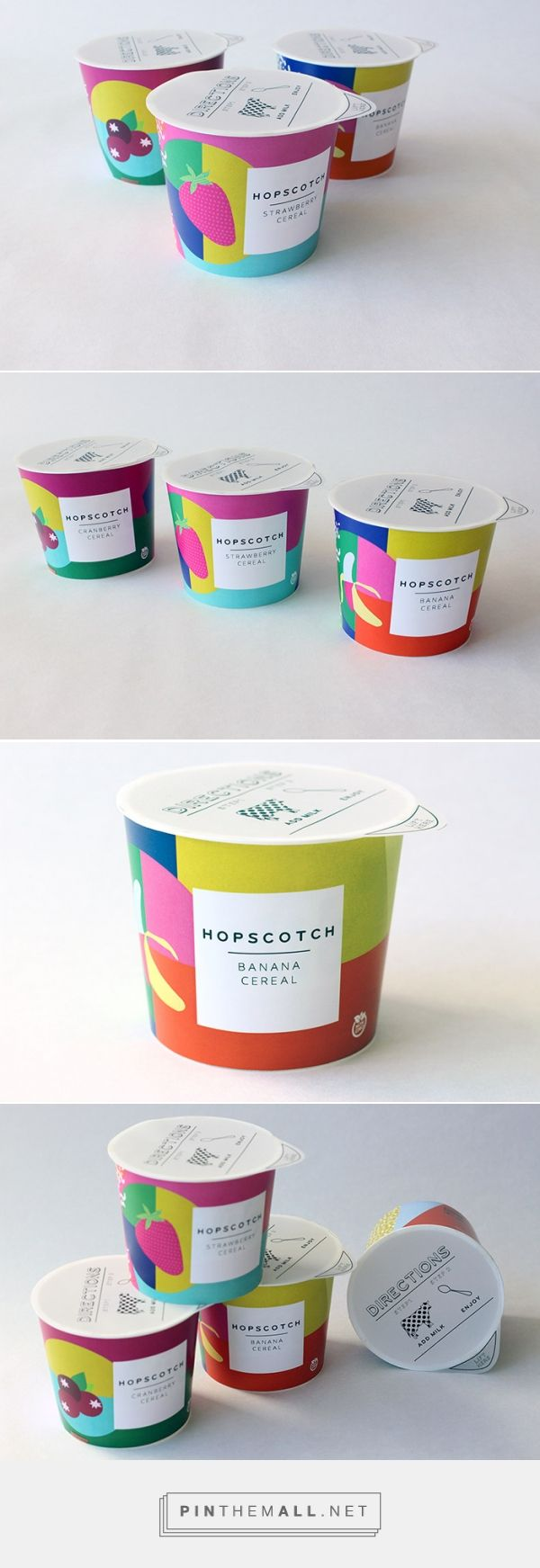 HOPSCOTCH - To-go cereal package design by Katherine Covell. Colorblock design and great color palettes.
