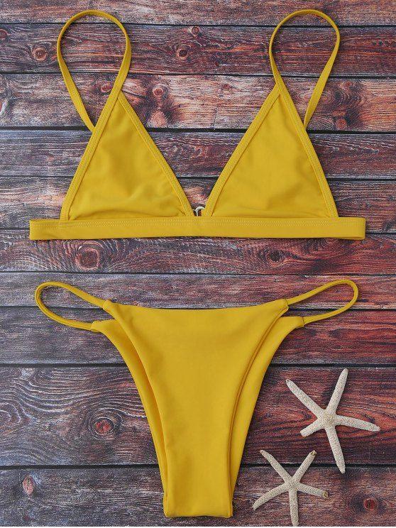 Cami Plunge String Bikini Set - YELLOW S Mobile