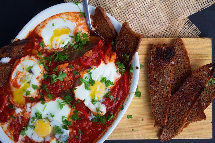 Baskisk pipérade med æg