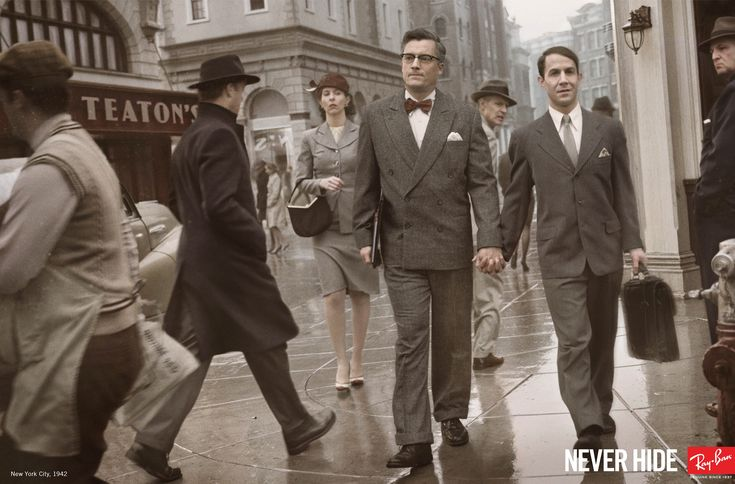 """Another Ray-Ban ad from the same campaign, """"1942 Lovers,"""" reads """"Never hide."""" We love the defiance and confidence in the bow-tied man's expression.Advertising Agency, Mark Seliger, Advertis Campaigns, Ads Campaigns, Paris France, Prints Advertis, Funny Commercials, Ray Bans Sunglasses, Prints Ads"""