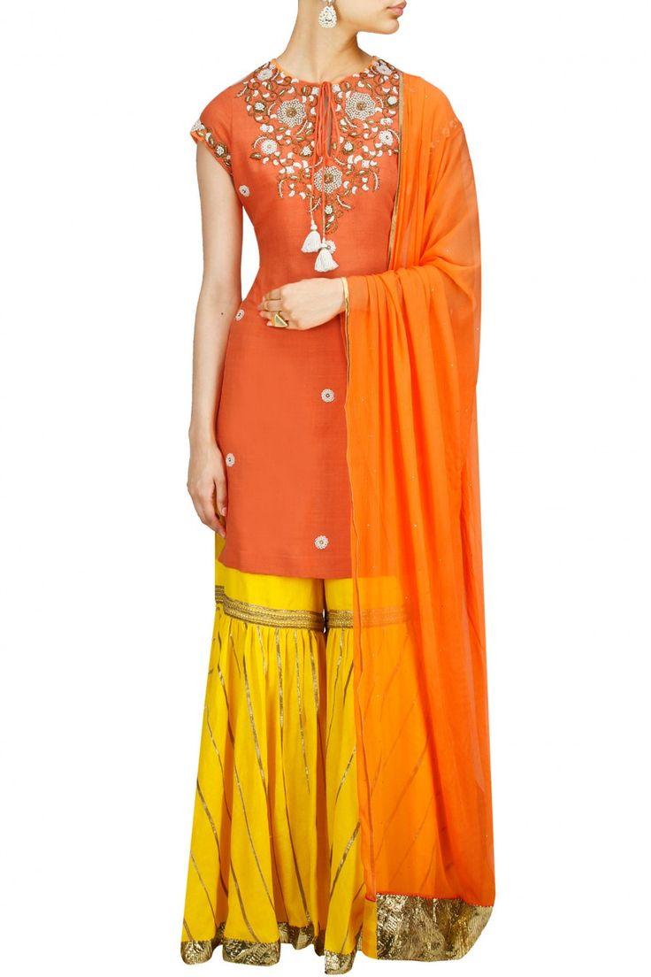 TISHA SAKSENA Orange embroidered kurta with yellow gota applique gharara available only at Pernia's Pop-Up Shop.