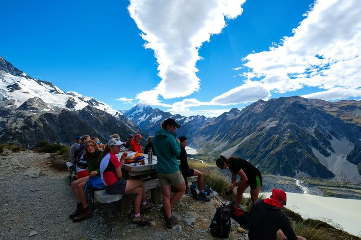 A group of hikers takes a break at Sealy Tarns   #newzealand #activenewzealand #hikingnewzealand #milfordsound #milfordtrack #milford