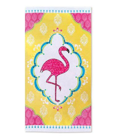 Look at this #zulilyfind! Pink Flamingo Beach Towel #zulilyfinds