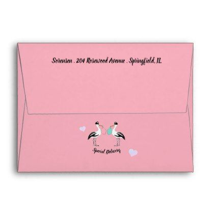 Special Delivery Baby Reveal Party A2 Envelopes envelopes custom unique diy cyo personalize idea envelope