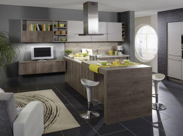 Cuisine am ricaine optez pour un espace de vie convivial ilot central - Cuisine et salon moderne ...