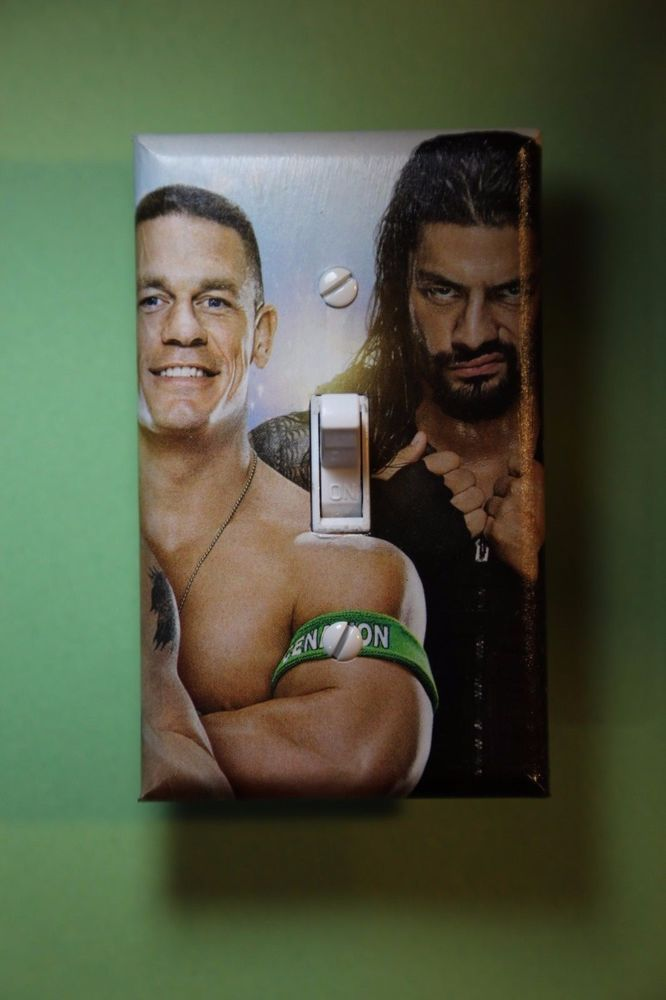 John Cena Roman Reigns Wwe Light Switch Cover Wrestling Boys Bedroom Room Decor