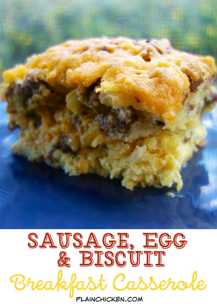 Sausage, Egg & Biscuit Breakfast Casserole - frozen biscuits, sausage, cheese and eggs - quick assembly - can make ahead and cook later. Our favorite breakfast casserole! So easy and no overnight soaking required.