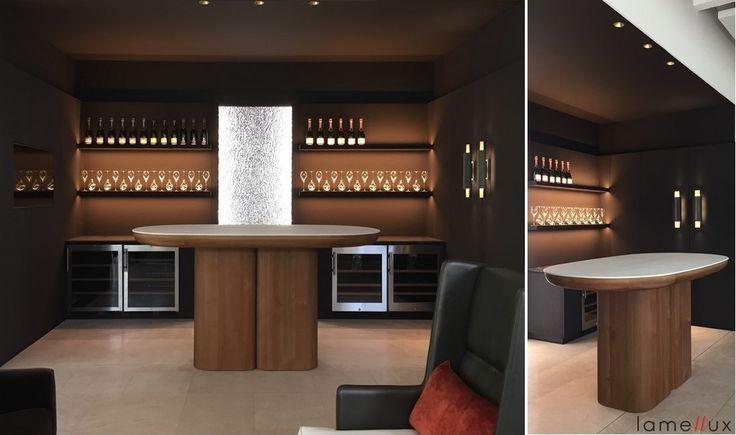 """LAMELLUX Bar """"Naturbois"""" Mélèze Erosion et résine blanche effet béton  - Reims Maison Charles Heidsieck - Architecte Tristan Aueur  #lamellux #naturbois #erosion #meleze #larch #reims #luxe #champagne #heidsieck #madeinfrance #ebenisterie #architecture #architecturedinterieur #agencement #craftmanship #luxury #design #interior #interiordesign #woodwork #bespoke"""