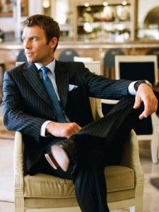 Businessmann, business outfit, business suit with stripes and blue tie. Learn how to make powerful first impression >>> http://justbestylish.com/how-to-make-powerful-first-impression/