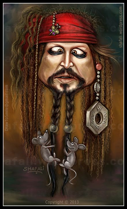 Caricature of Johnny Depp as Captain Jack Sparrow - Pirates of the Caribbean