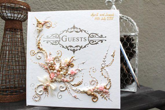 Bellissimo libro degli ospiti di nozze d'oro rosa di PureBeautyArt