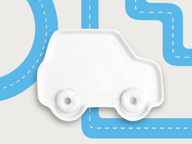 Platos Cerámicos Auto para comidas divertidas - ceramics plates for kids for fun meal