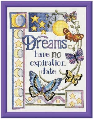 JANLYNN-Counted Cross Stitch Kit. This kit contains 14-count white cotton Aida fabric, 6-strand carded 100% cotton floss, needle, graph, and instructions. Design: Dreams Have no Expiration Date. Size: