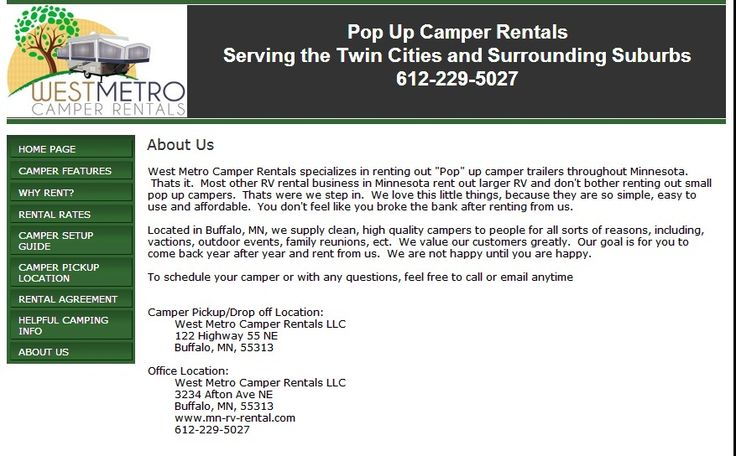 You can expect our best high end pop up camper rental MN in a really less expensive ways which in turn suitable for your traveling. If you want to spend your current wide range of time just for your enjoyment then there is nothing is preferable to be better than camping tent trailer. For more info visit http://www.mn-rv-rental.com/