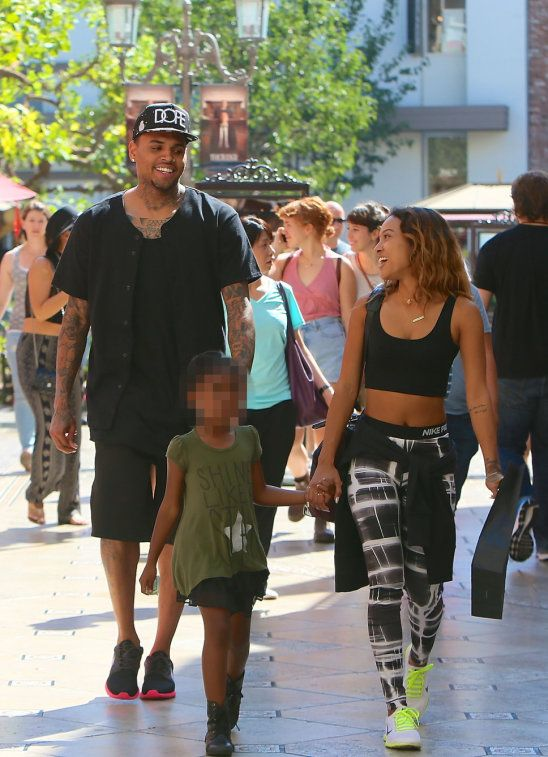 Chris Brown seen with girlfriend Karrueche Tran and friends at The Grove. They lunched at