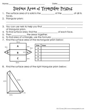 Worksheets Volume And Surface Area Of Triangular Prisms (c) Measurement Worksheet 1000 images about volume and surface area on pinterest 7th of triangular prisms notes