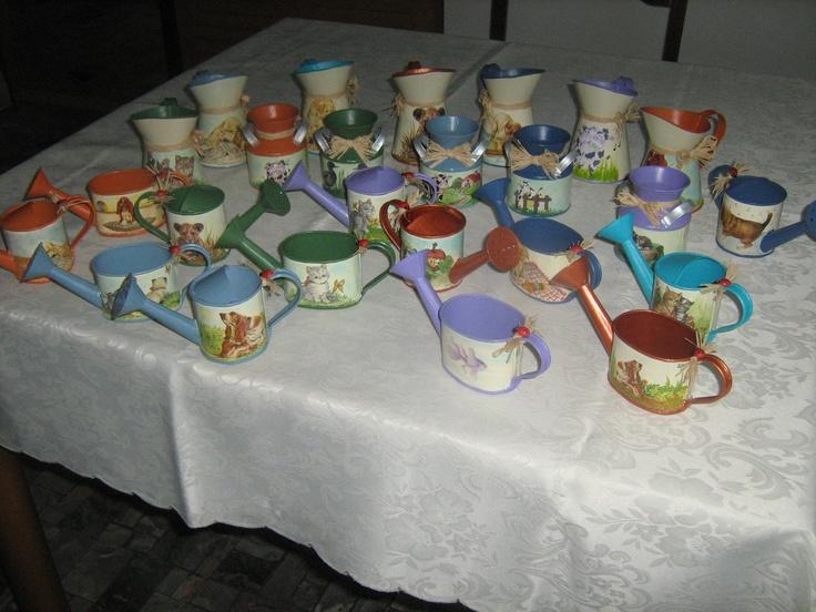 Bomboniere  varie forme latta con decoupage