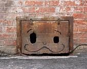Orange Number, Rust, Paint, Decay, urban, peeling paint, black, cream. $22.00, via Etsy.