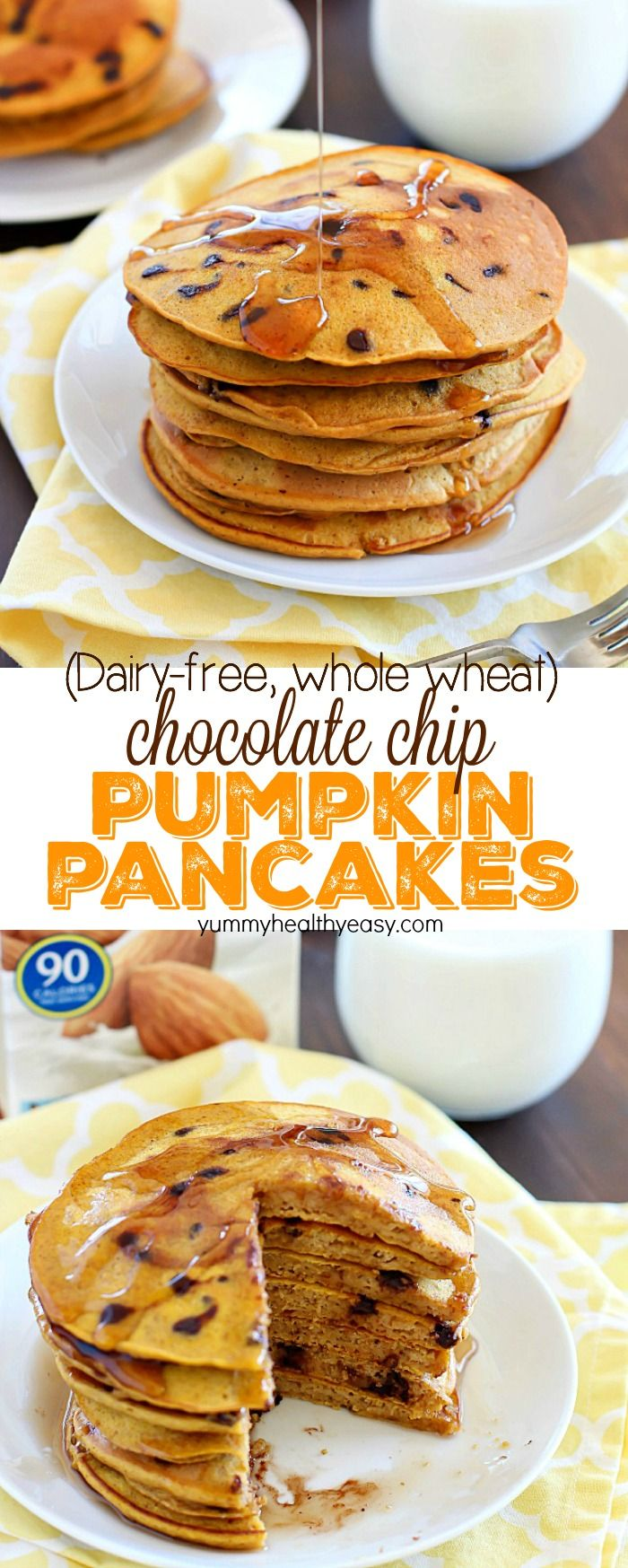 Flavorful pancakes full of pumpkin and chocolate chips that are also whole wheat and dairy-free! My family ate all of these and I had to make a second batch! AD