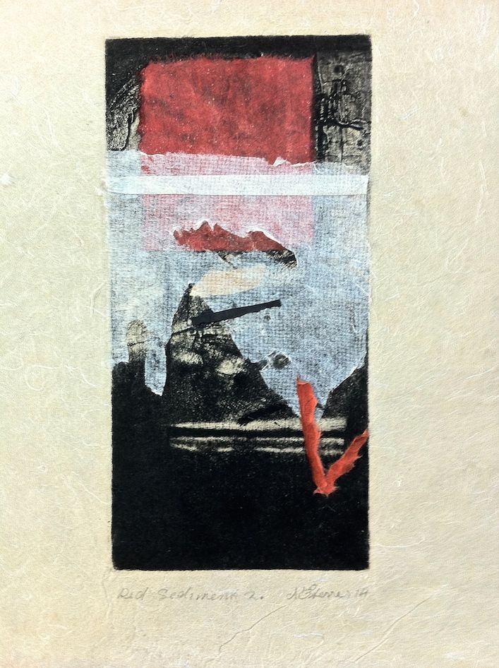 ELAINE d'ESTERRE - Red Sediment 2, 2015, intaglio and chine colle on handmade paper, 26x12 cm print, 36x25 cm paper by Elaine d'Esterre at elainedesterreart.com. Also http://www.facebook.com/elainedesterreart