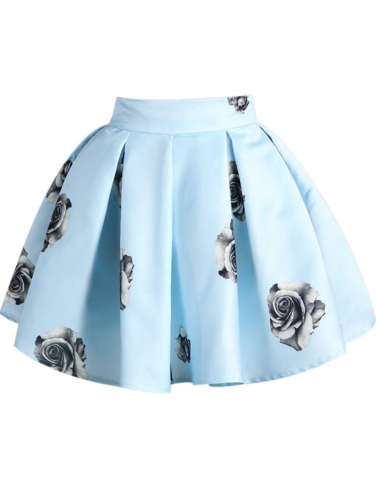 Blue Rose Print Flare Skirt - Sheinside.com