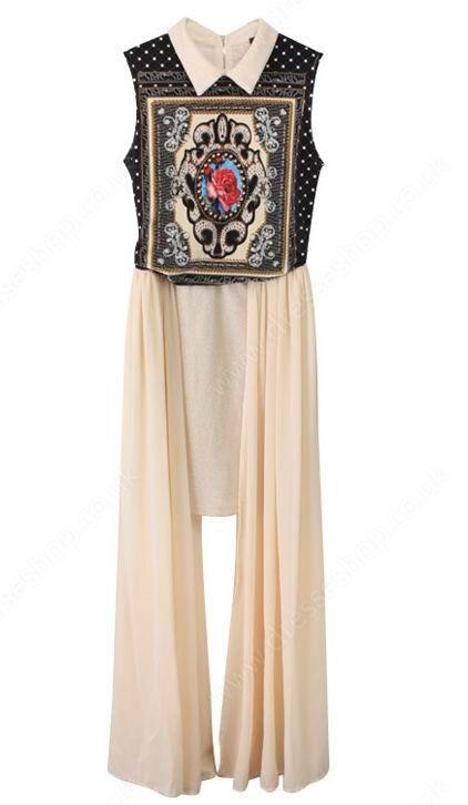 Apricot Totem Print Asymmetrical Chiffon Dress