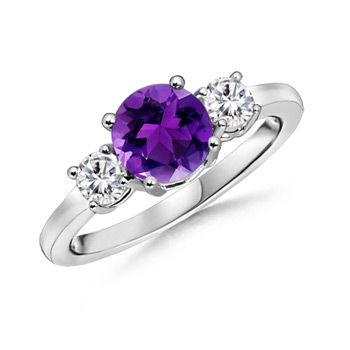 Amethyst Engagement Ring, Three Stone Amethyst Ring amethyst engagement rings