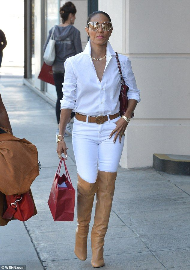 These boots were made for walking: Jada Pinkett Smith was spotted wearing what appeared to be thigh-high Stuart Weitzman boots while shopping in Beverly Hills on Thursday