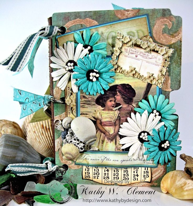 Tutorial on Vintage Beach Journal with many inspiring pages by Kathy by Design for Crafty Secrets July Blog Hop and Challenge