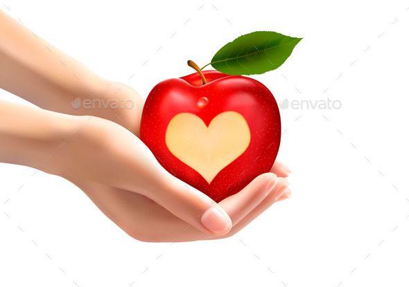 A Heart Carved Into An Apple Vector