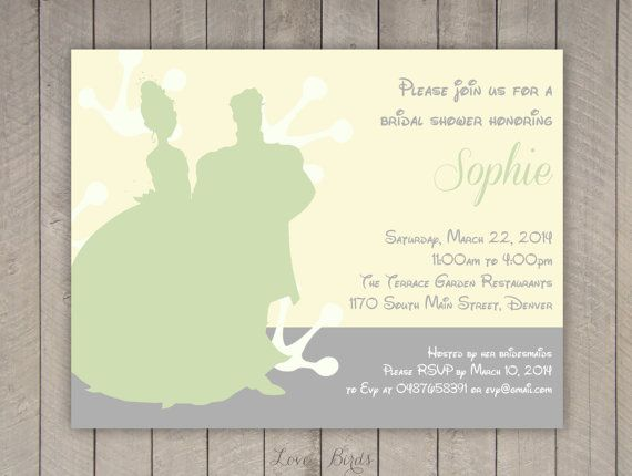 Bachelorette party / Bridal shower invitation Disney Pricess and the Frog Tiana and Naveen - Digital file by SophiesLovebirds on Etsy #wedding #Disney #ThePrincessAndTheFrog