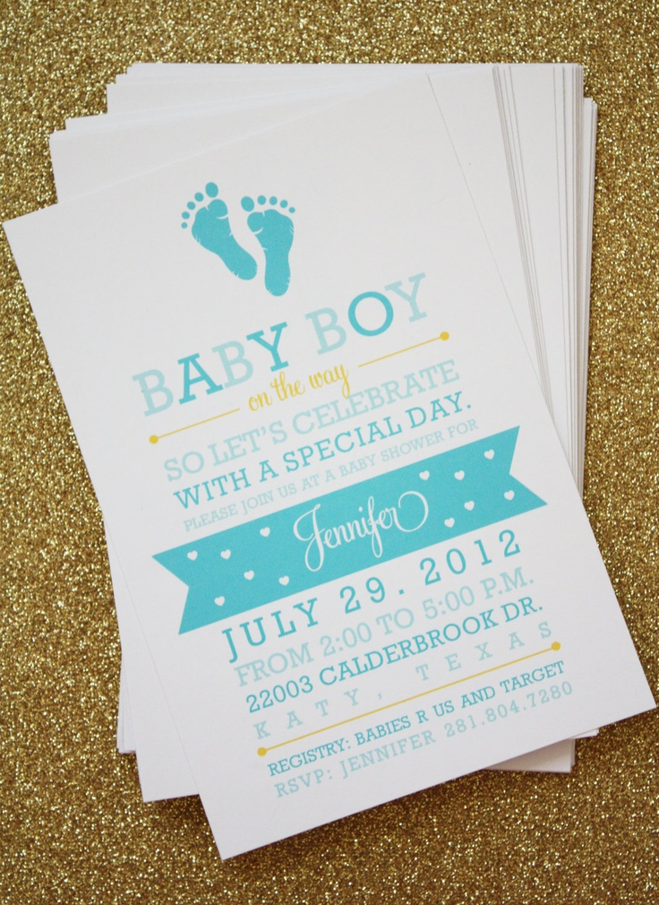 Inspiration for #babyshower invitations you could easily make at home. Baby Shower Invitation (Post Card) - Baby Boy. $35.00, via Etsy.