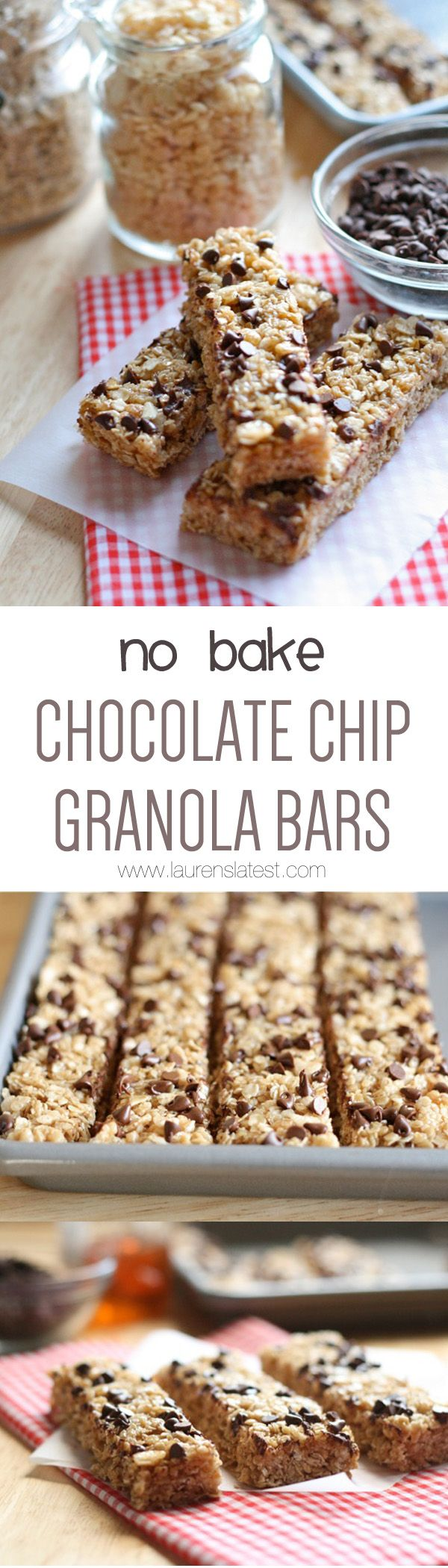 No Bake Chocolate Chip Granola Bars {Easy & Healthy!} -- I changed this recipe to be dairy-free and higher in protein: Instead of 2 cups of quick oats I did (1.5 cups quick oats, 1/4 cup hemp hearts, 1/4 cup unsweetened finely shredded coconut, 5 dried apricots, chopped finely), and I subbed coconut oil for butter. Follow original instructions. Sprinkle with 1 tbsp cocoa nibs and handful of dairy-free choc-chips. If I had pepitas I would have added those, too. 5 stars with the amendments!