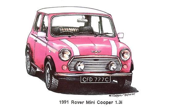 Pink 1991 Rover Mini Cooper